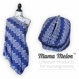 Nursing Cover - chevron - blue - white