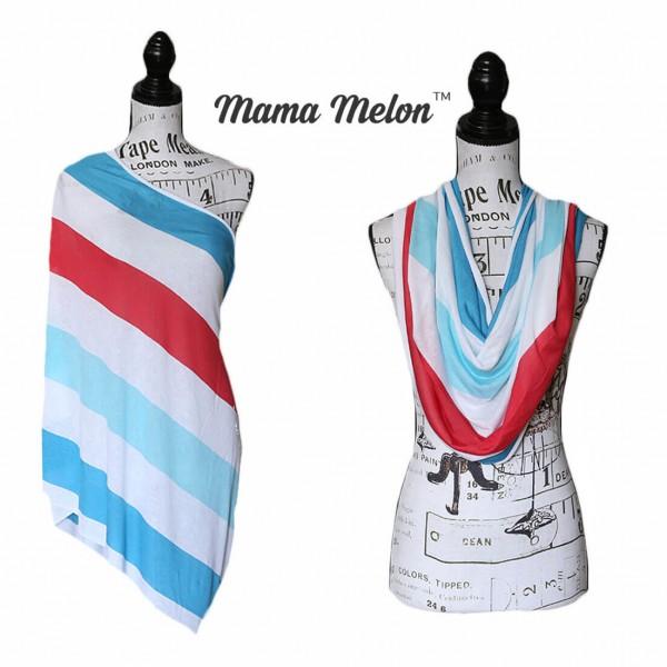 Nursing Infinity Scarf red blue white stripe