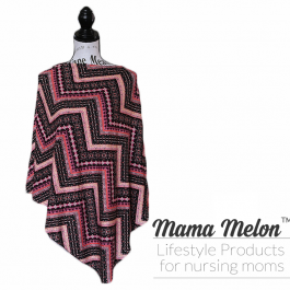 Nursing Poncho - chevron pink orange