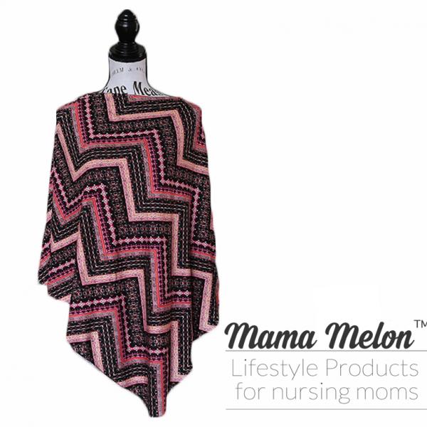 Nursing Poncho Chevron pink