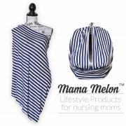nursing scarf blue stripes with car seat11