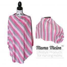 Nursing Poncho - pink stripe